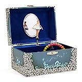Jewelkeeper - Spieluhr Schmuckkästchen für Mädchen mit drehender Fee und Stern Design in Blau und...
