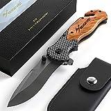 BERGKVIST® K19 Klappmesser (Einhandmesser) mit Holzgriff & Titanium für Outdoor & Survival -...