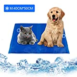 infinitoo Kühlmatte Hunde Katzen Haustiere Matte zur Regulierung der Körpertemperatur Pad Selbstkühlendes Kühlkissen Kühl Hundedecke Kaltgelpad Blau(M: 40 * 50CM)
