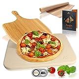Amazy Pizzastein inkl. Bambus Pizzaschaufel, Dauerbackfolie und Beileger – Der...