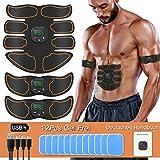 SUNGYIN EMS Muskelstimulator bauchtrainer ABS Trainingsgerät Professionelle USB Elektrostimulation Elektrisch Bauchmuskeltrainer Fitnessgürtel für Damen Herren (Orange-2)