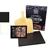 DOLCE MARE Pizzastein Schwarz - Pizza Stein aus hochwertigem Cordierit für den Backofen & Grill -...