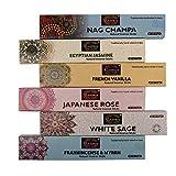 Raajsee Bio-Räucherstäbchen 15gx 6 Packung ,Nag Champa,Jasmin,Vanille, japanische Rose, weißer...