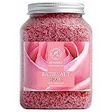 Badesalz Rose 1300g - Meersalz mit 100% Natürlichen Ätherischen Rosenholzöl - Natur Bade-Salz...