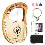 4YANG Lyre Harfe 19 Saiten Tragbare Kleine Harfe Aus Mahagoni Mit Tragetasche Stabile Harfe In...
