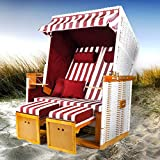 BRAST Strandkorb Nordsee XXL Volllieger Weiß Rot gestreift incl. Schutzhülle 2 Sitzer 120cm breit...