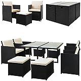 Casaria Poly Rattan Sitzgarnitur Cube 7cm Dicke Auflagen 4 Stühle 4 Hocker Tisch 9 TLG Sitzgruppe...