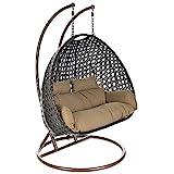 Home Deluxe - Polyrattan Hängesessel - Twin braun - inkl. Gestell, Sitz- und Rückenkissen |...