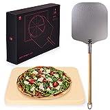 Blumtal Pizzastein Gasgrill & Pizzasschieber - Pizzastein aus Cordierit für Backofen, Grill...