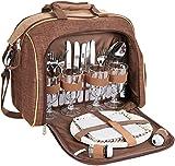 Brubaker Picknicktasche für 4 Personen mit Kühlfach - tragbar als Duffelbag oder Schultertasche -...