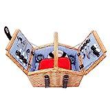 Schramm® Picknickkorb aus Weidenholz mit Henkel für 2 Personen hochwertiger Weidenkorb mit...