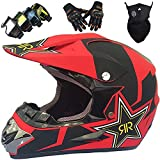 KILCVEM Motocross Helm Kinder von 5 bis 14 Jahren, Jugend Erwachsene Cross Helm Set Fullface...