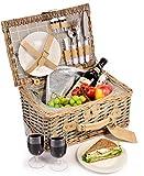 Sänger Picknickkorb Amrum 12 teiliges Picknick-Koffer Set für 2 Personen aus Weidenflechte,...