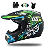 MRDEAR Fullface MTB Helm, Motorrad Crosshelm mit Brille (4 Stück/Schwarz und Grün) Motocross Helm...