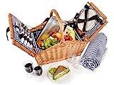 Sänger Picknickkorb Sylt 24 teiliges Picknick-Tasche Set für 4 Personen aus Weidengeflecht,...