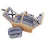 Picknickkorb für 4 Personen aus Weide - 26tlg. mit passender Decke, Keramik Geschirr und Kühlfach...