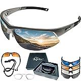 BIGWAVE Pro-Active 905 Grau – Superentspiegelte Premium UV 400 Sportbrille mit 4...