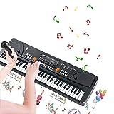 TianYaer Keyboard, Multifunktions Digital Piano 61 Tasten Keyboard Set mit Mikrofon, wiederaufladbare tragbare musikalische elektronische Karaoke für Kinder Mädchen Jungen
