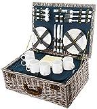 BEM: Picknickkorb, Weidenkorb, Picknick-Geschirr Set für 6 Personen mit Kühltasche, 40L Volumen