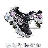 FGERTQW Unisexe Skates 2-in-1 Multifunktions 4-Rad Verstellbare Rollschuhe,Verstecktes Rad Für Laufsportschuhe Zum Spielen,Einstellbare Rollschuhe Für Skaten,Laufen