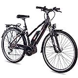 CHRISSON 28 Zoll Damen Trekking- und City-E-Bike - E-Rounder schwarz matt - Elektro Fahrrad Damen -...