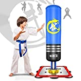 Dripex Boxsack Kinder Freistehender Standboxsack Boxpartner Boxing Trainer Punching Bag(Blau)