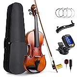 Vangoa 4/4 Geige Akustische Ebenholz Konfiguration Volle Größe Violine Einsteiger Set für...