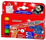 Kreul 92650 - Javana Texi Mäx Glitter Stoffmalstifte für helle und dunkle Stoffe, 5 Stifte in...