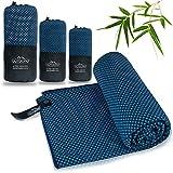 Outdoro Reisehandtuch mit Bambus Kohle Ultra-leicht & saugfähig - komfortabler als Mikrofaser-Handtücher - ideales Sport-Handtuch, Badetuch, Strand-Handtuch, Sauna Towel für Reise & Fitness