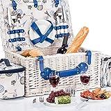 GOODS+GADGETS Picknickkorb für 4 Personen - Luxus Weidenkorb für Picknick mit Picknickdecke und...