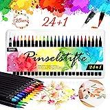 Pinselstifte Set, 24 Aquarell Pinselstifte + 1 Wassertankpinsel, Brush Pen mit flexiblen Nylonspitzen Handlettering Stifte für Künstler, Bullet Journal, Kalligraphie und Zeichnungen