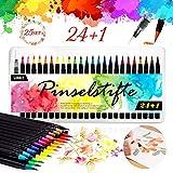 Pinselstifte Set, 24 Aquarell Pinselstifte + 1 Wassertankpinsel, Brush Pen mit flexiblen...