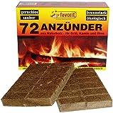Favorit Anzünder für Grill, Kamin; Echtholz und Wachs, besonders brennstark, Brenndauer ca. 8 -10...