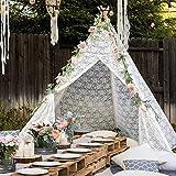 Tipi Zelt für Kinder, 5-seitiges Luxuriöses Spitzenstoff Zelt für den Innen- und Außenbereich...