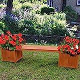 Melko Gartenbank mit Blumenkasten 180x40x40CM Garten Holz Bank Sitzbank Parkbank mit Pflanzkasten
