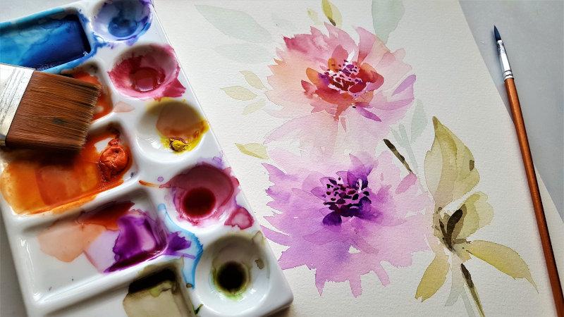 Aquarellpinsel mit Zeichnung und Farbverlauf