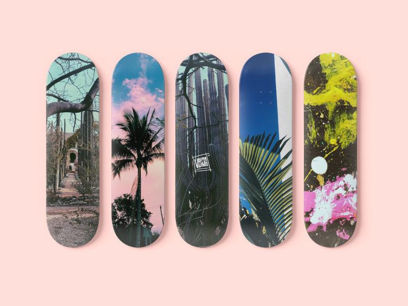 Skateboards in verschiedenen und bunten Designs