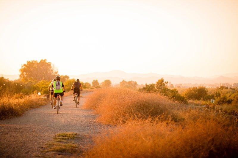 Fahrradtour mit der Familie im Sonnenuntergang