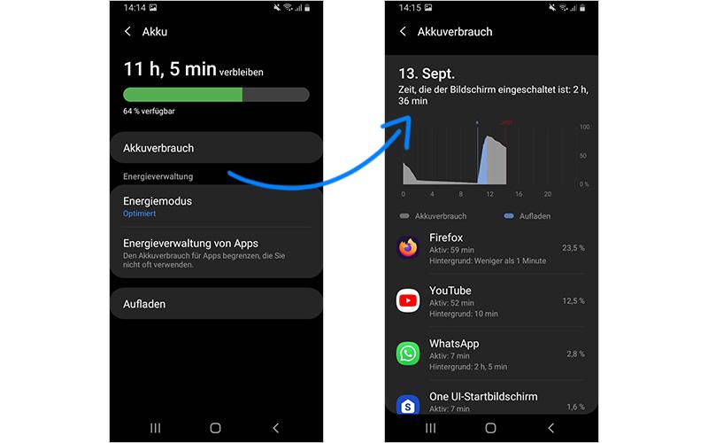 Handy Akkuverbrauch: Stromfresser Apps ausfindig machen