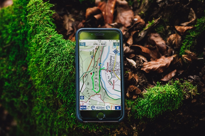 Smartphone mit Navigationsapp im Wald