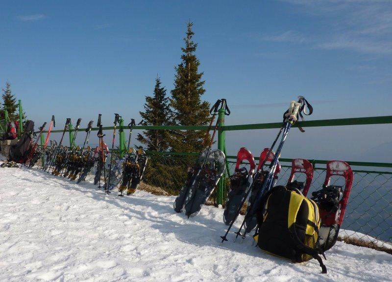 Schneeschuhe-Wandern im Winter.