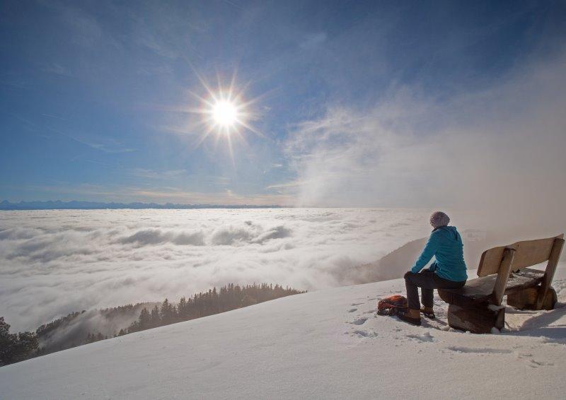 Pause bei der Winterwanderung.