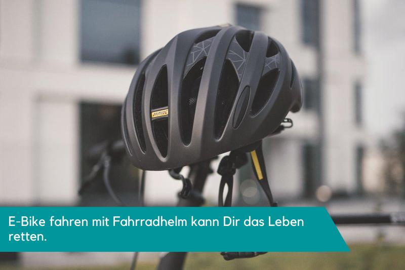 E-Bike fahren mit Fahrradhelm kann Dir das Leben retten.