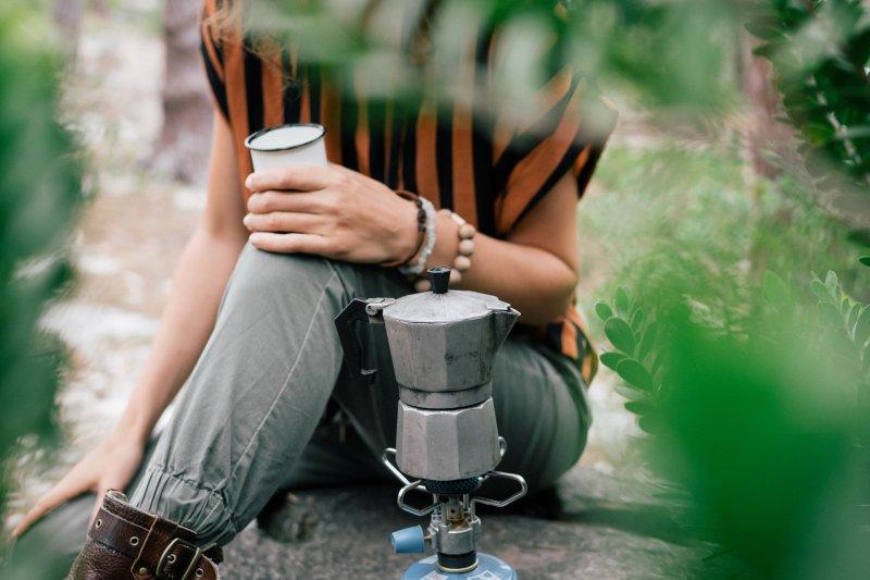zeltheizung Gaskocher mit Tee
