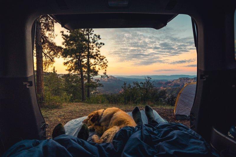 2 paar Füße schauen aus 2 Schlafsäcken im Camper raus