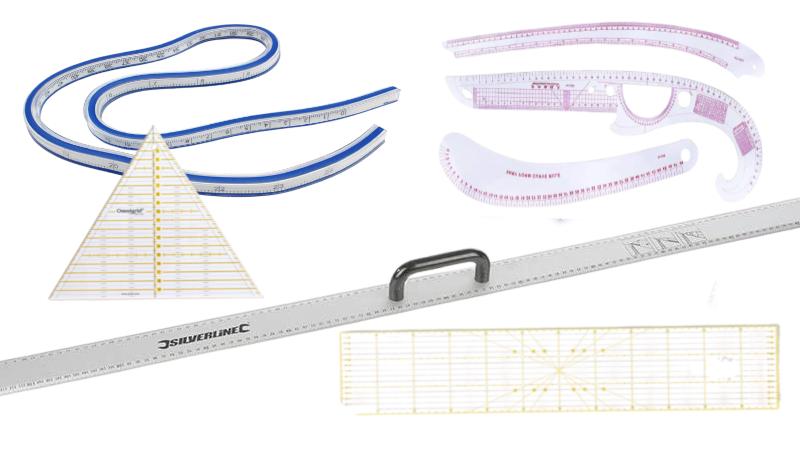 Ein Set aus verschiedenen Schneiderlinealen