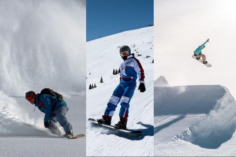 Auf der linken Seite fährt ein Snowboardfahrer im Tiefschnee, in der Mitte einer auf der Piste und rechts einer auf der Halfpipe.