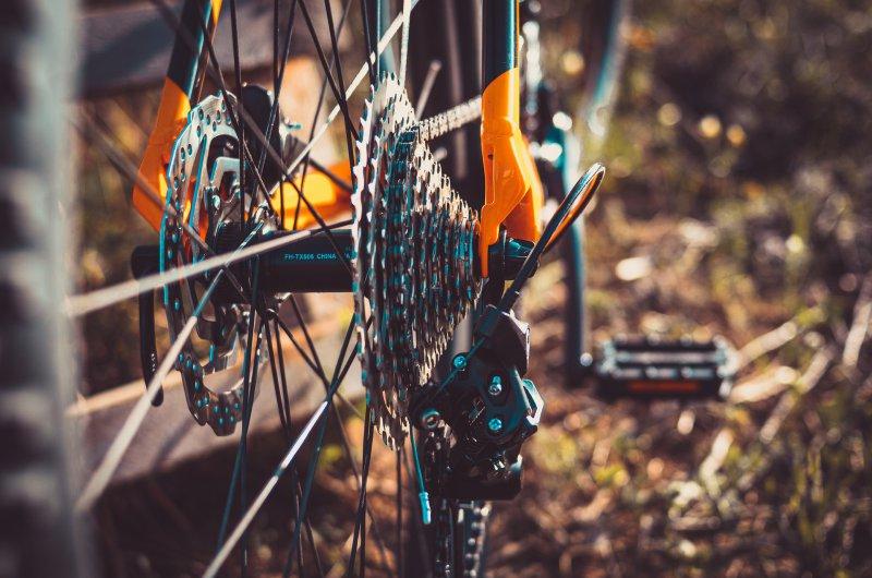 Eine Gangschaltung am Hinterrad eines Mountainbikes. Dem gegenüber befindet sich eine Scheibenbremse. Das Design der Halterung ist in einem Orangeton gehalten.