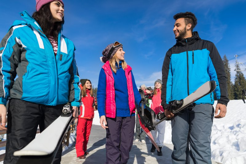 Skischuhtasche- Transport - auf dem Weg zum Lift