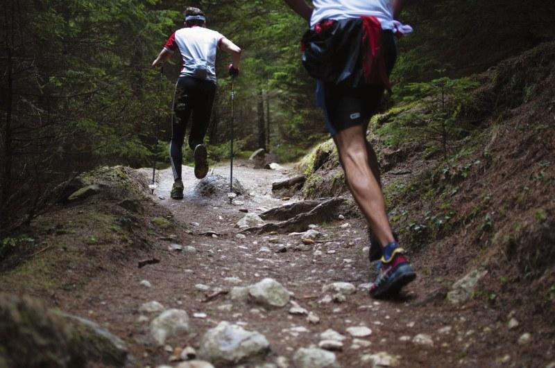 zwei Trailrunner mit Stöcken